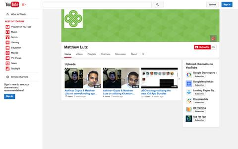 Screenshot of YouTube Page youtube.com - Matthew Lutz  - YouTube - captured Oct. 23, 2014