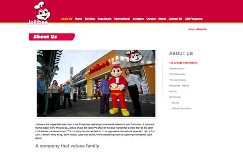 Screenshot of About Page jollibee.com.ph - About Us | Jollibee Foods Corporation - captured Sept. 25, 2014