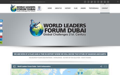 Screenshot of Contact Page worldleadersforumdubai.com - Contact - World Leaders Forum Dubai - captured Oct. 20, 2018