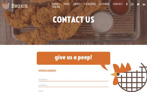 Screenshot of Contact Page bruxie.com - Contact | Bruxie - captured Sept. 24, 2018