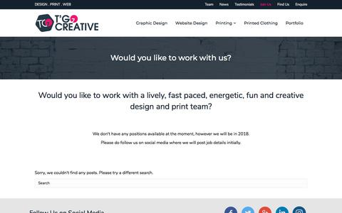 Screenshot of Signup Page tgocreative.co.uk - Graphic Design and Website Design Jobs in Perthshire | T'Go Creative Designers, Website Design and Printing in Perth - captured Sept. 24, 2018