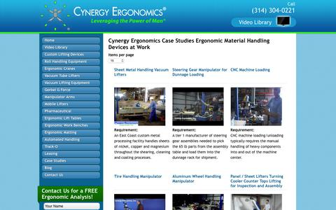 Screenshot of Case Studies Page cynergyergonomics.com - | Cynergy Ergonomics - captured Nov. 15, 2016