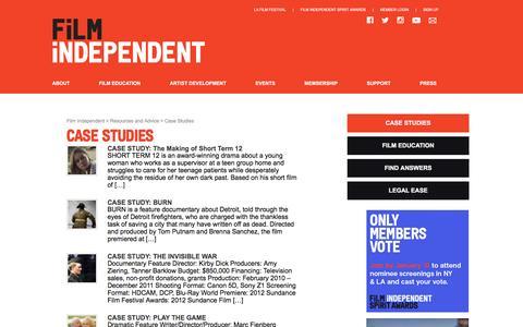 Screenshot of Case Studies Page filmindependent.org - Case Studies - captured Jan. 8, 2016