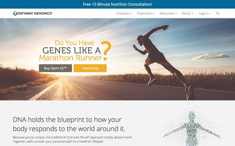 Screenshot of Home Page pathway.com - At Home DNA Testing for Diet & Health | Pathway Genomics - captured Sept. 13, 2018