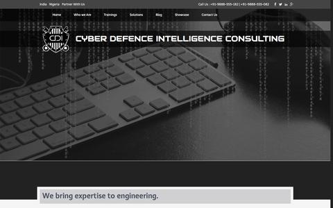 Screenshot of About Page cyberintelligence.in - ABOUT THE COMPANY - Cyber Defence Intelligence - captured Jan. 21, 2016
