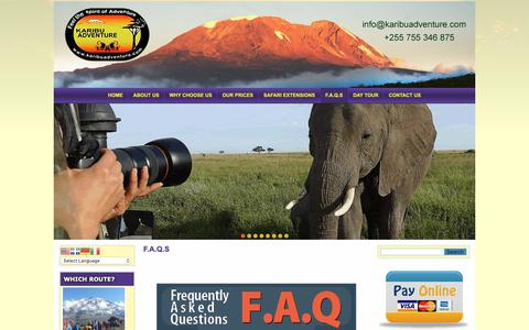 Screenshot of FAQ Page karibuadventure.com - Mt Kilimanjaro Frequently Asked Questions - captured Oct. 15, 2018