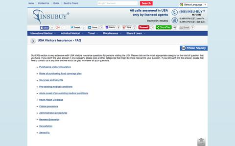 Screenshot of FAQ Page insubuy.com - USA Visitors Insurance - FAQ - captured Sept. 19, 2014