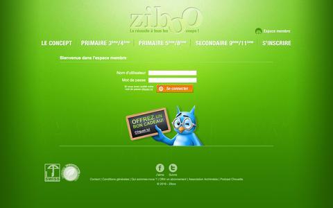 Screenshot of Login Page ziboo.ch - Ziboo > Connexion - captured Feb. 16, 2016