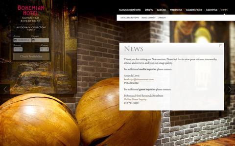 Screenshot of Press Page bohemianhotelsavannah.com - Bohemian Hotel News & Updates | Bohemian Hotel Savannah Riverfront - captured Oct. 5, 2014