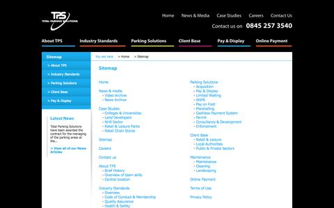 Screenshot of Site Map Page totalparking.co.uk - Total Parking Solutions | Sitemap - captured Oct. 7, 2014
