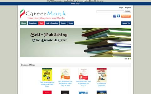 Screenshot of Home Page careermonk.com - CareerMonk Publications - Interview Questions | Books - captured Sept. 23, 2014
