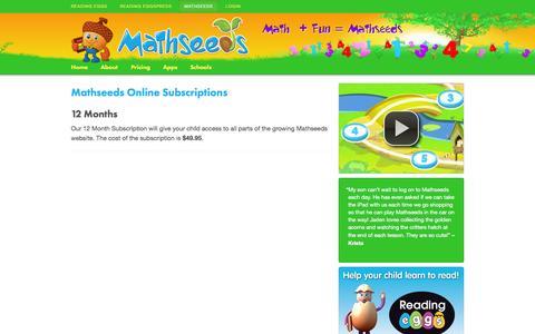 Screenshot of Pricing Page mathseeds.com - Pricing - Mathseeds - captured Nov. 4, 2014