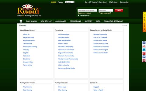 Screenshot of Site Map Page classicrummy.com - Play Rummy Games | 13 Cards Rummy Online | Indian Rummy | Classic Rummy - captured Sept. 18, 2014