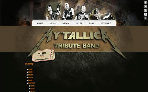 Screenshot of Site Map Page mytallica.com - Sitemap - Metallica Coverband MY'TALLICA - 100° degree proof! - captured Oct. 4, 2014