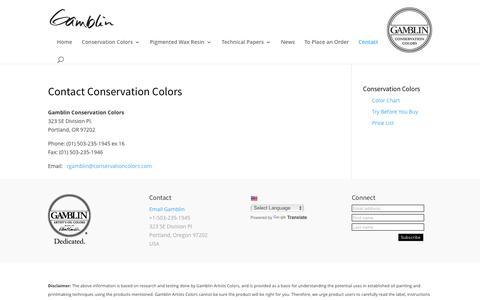 Screenshot of Contact Page gamblincolors.com - Contact Conservation Colors - Gamblin Artists Colors - captured Oct. 21, 2016