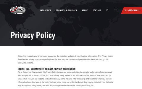 Screenshot of Privacy Page exline-inc.com - Privacy - Exline, Inc. - Salina, KS - captured Nov. 5, 2018