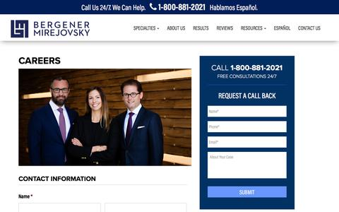 Screenshot of Jobs Page bergenerlaw.com - Careers | Bergener Mirejovsky - captured Oct. 10, 2017