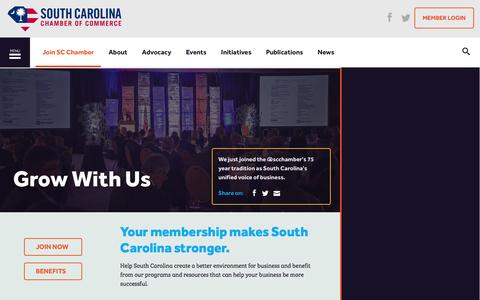 Screenshot of Signup Page scchamber.net - Membership | South Carolina Chamber of Commerce - captured Dec. 1, 2016