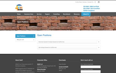Screenshot of Jobs Page 4isoft.com - An IT partner for Insurance companies Open Positions - An IT partner for Insurance companies - captured Oct. 27, 2014