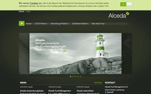Screenshot of Home Page alceda.lu - Alceda Fund Management S.A. · Luxemburg - captured Sept. 30, 2014