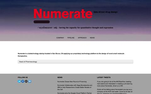 Screenshot of Jobs Page numerate.com - Careers - Numerate - captured Sept. 17, 2014