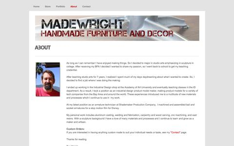 Screenshot of About Page madewright.com - About - MadeWright- HandMade Furniture and Decor by Tim Wright - captured April 9, 2017