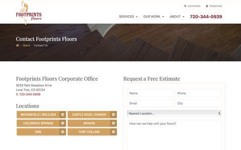Screenshot of Contact Page footprintsfloors.com - Contact Footprints Floors - captured Dec. 10, 2018