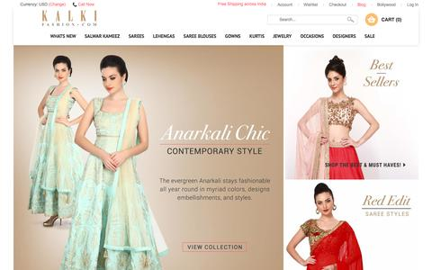 Screenshot of Home Page kalkifashion.com - Online Shopping for Indian Dresses | Buy Traditional Indian Clothing and Wedding Outfits for Women - Kalkifashion.com - captured Jan. 19, 2016