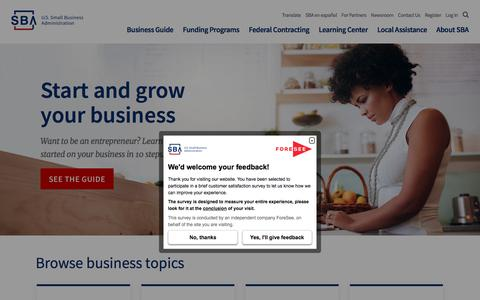 Screenshot of Home Page sba.gov - Small Business Administration - captured May 21, 2018