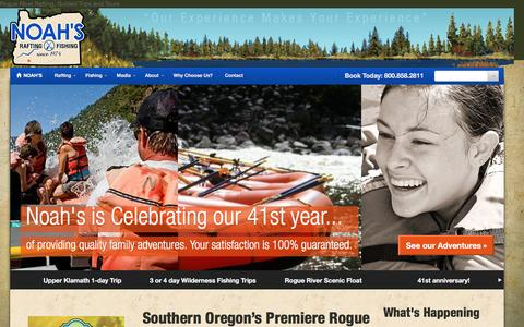 Screenshot of Home Page noahsrafting.com - Rogue River Rafting & Fishing with Noah's, Since 1974. - captured Feb. 25, 2016