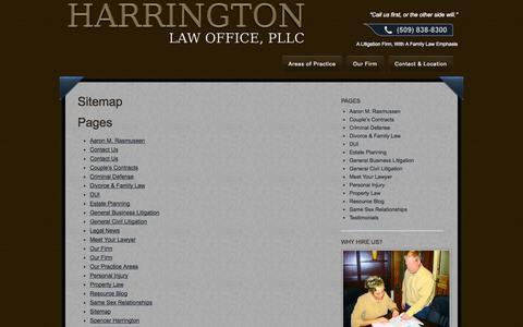Screenshot of Site Map Page spokanedivorcelaw.com - Spokane Attorneys Spencer Harrington and Aaron M. Rasmussen of Spokane - captured Oct. 2, 2014