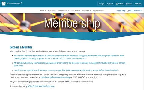 Screenshot of Signup Page acainternational.org - Become a Member ACA International - captured Jan. 29, 2017