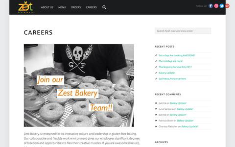 Screenshot of Jobs Page zestbakery.com - Careers – Zest Bakery & Deli - captured Oct. 19, 2018