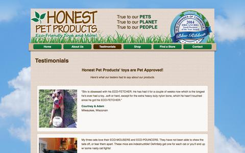 Screenshot of Testimonials Page honestpetproducts.com - Pet Toys by Honest Pet Products - Organic Eco-Friendly Natural Pet Products - captured Dec. 6, 2015