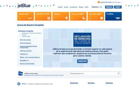 Screenshot of About Page jetblue.com - JetBlue |Acerca de - captured Dec. 16, 2017