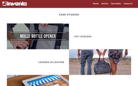 Screenshot of Case Studies Page inveniomedia.com - Advertising, Design, and Programming Case Design —Invenio, Austin TX - captured Oct. 12, 2018