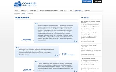 Screenshot of Testimonials Page companyincorporations.co.uk - Company Incorporations - Customer testimonials - captured Oct. 28, 2014