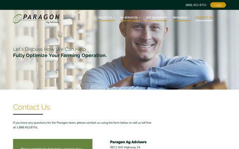 Screenshot of Contact Page myagadvisor.com - Contact Us - Paragon Ag Advisory - captured Sept. 26, 2018