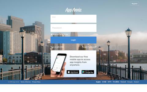Screenshot of Support Page appannie.com - Login - App Annie - captured July 15, 2019