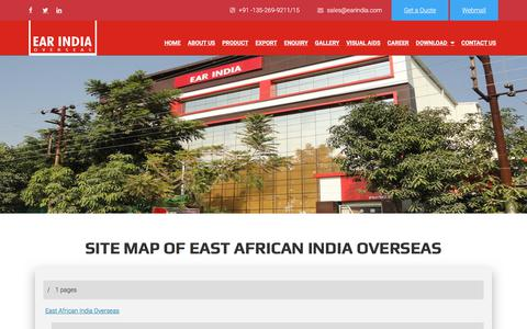 Screenshot of Site Map Page earindia.com - Site Map | EAST AFRICAN INDIA OVERSEAS - captured Sept. 25, 2018