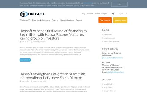 Screenshot of Press Page hansoft.com - Hansoft Agile tool |   Newsroom - captured July 19, 2014