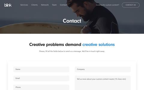 Screenshot of Contact Page blink.la - Contact • Blink • Custom content production at any scale - captured Aug. 15, 2019