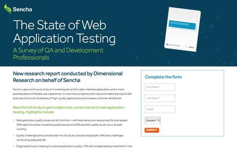 Screenshot of Landing Page sencha.com - The State of Web Application Testing | Sencha - captured June 23, 2017