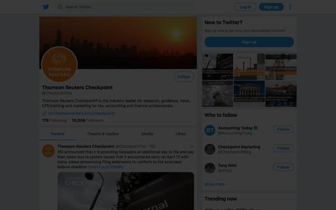 Tweets by Thomson Reuters Checkpoint (@CheckpointTax) – Twitter