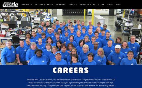 Screenshot of Jobs Page castlecreations.com - Careers — Castle Homepage - captured Sept. 23, 2018
