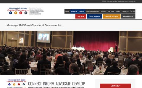 Screenshot of About Page mscoastchamber.com - Mississippi Gulf Coast Chamber of Commerce, Inc. - captured Dec. 3, 2016