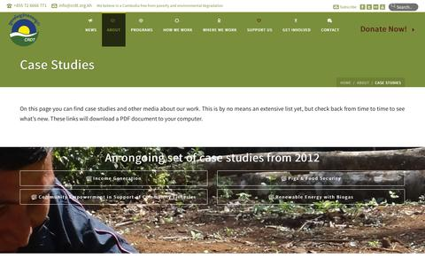 Screenshot of Case Studies Page crdt.org.kh - The Cambodian Rural Development Team   –  Case Studies - captured Oct. 1, 2014