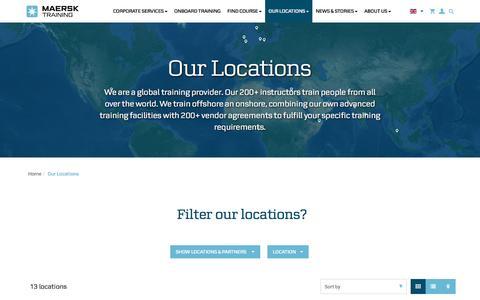 Screenshot of Locations Page maersktraining.com - Our Locations   Our Locations - captured May 27, 2017