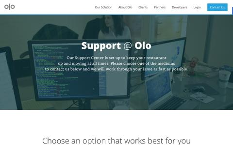 Screenshot of Support Page olo.com - Olo | Support - captured Sept. 17, 2014