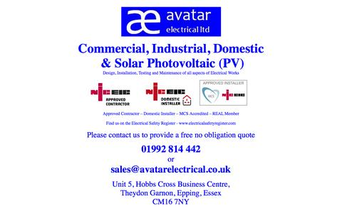 Screenshot of Home Page avatarelectrical.co.uk captured Oct. 4, 2014